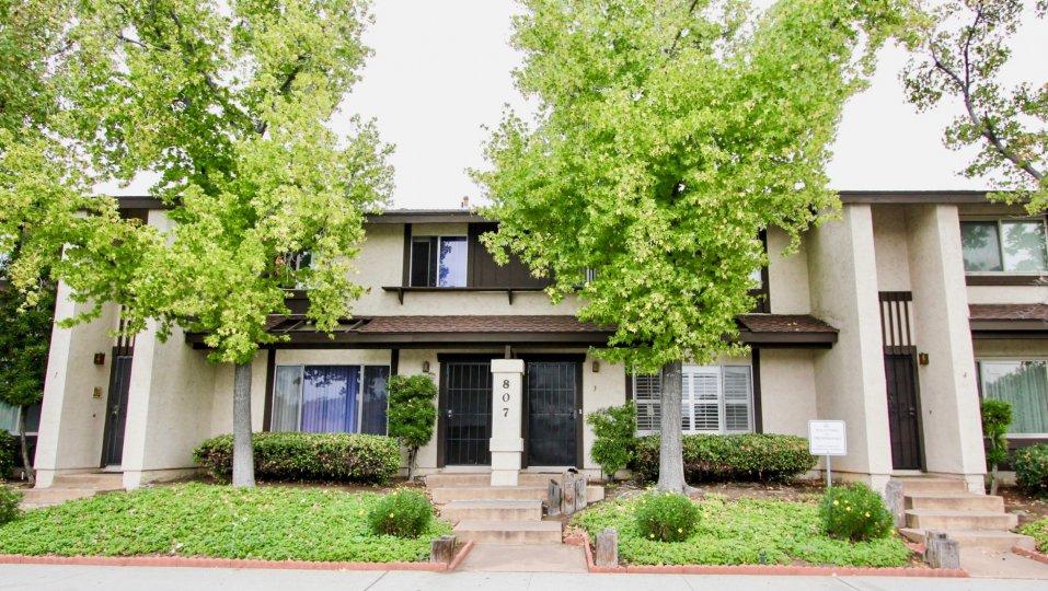 Beautifully landscaped apartments at the Mollison Villas of El Cajon, California.