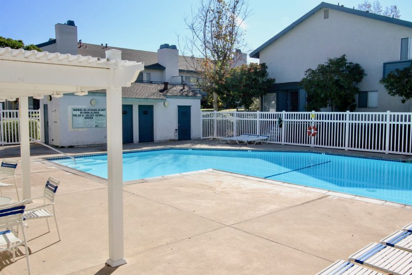 A pool with the sun shining down in the community Mountain View Village.