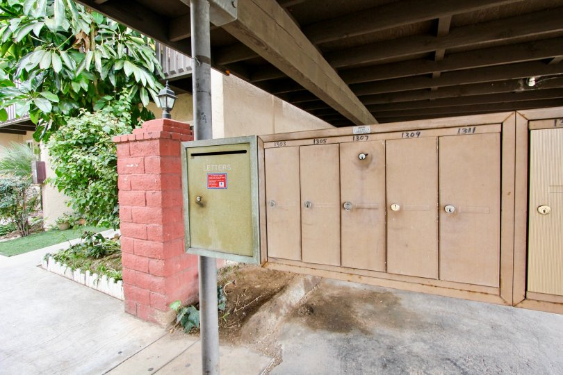 Mailboxes for apartments in Oakdale Park near parking area