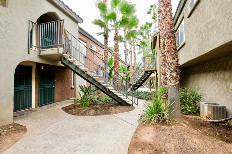 Walkway of apartment complex in El Cajon, California