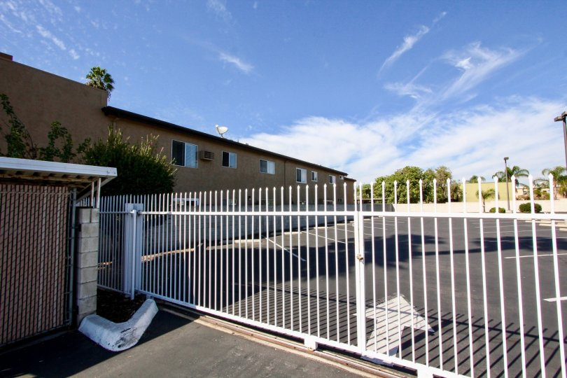 Security gate on driveway at Palermo in El Cajon California