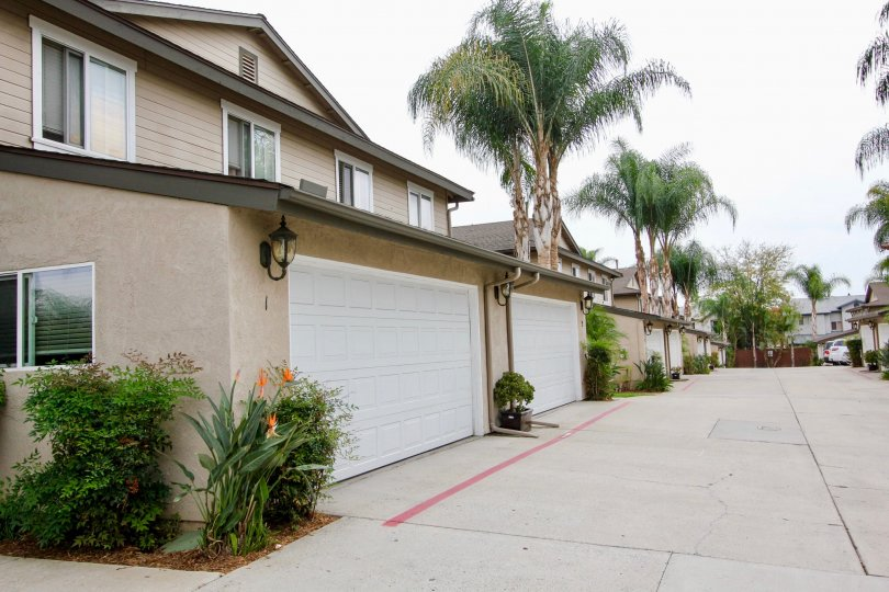 Garage view of the Persimmon Place Community homes in El Cajon, California.