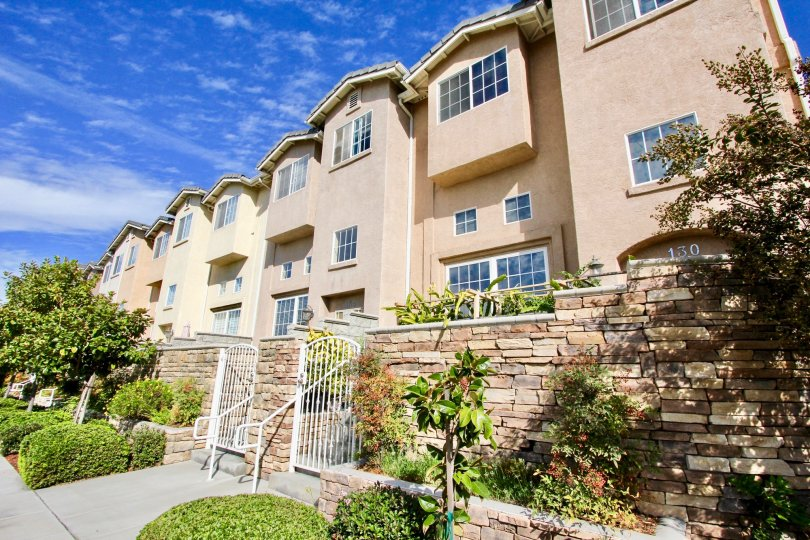 Promenade Square in El Cajon, California features beautifully landscaped grounds,