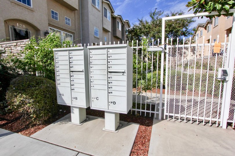 Resident mailboxes and security gate at Promenade Square.