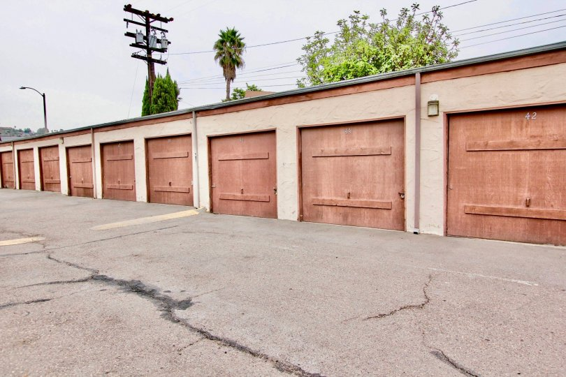 A photograph of a row of garages in Scranton Palisades - El Cajon California