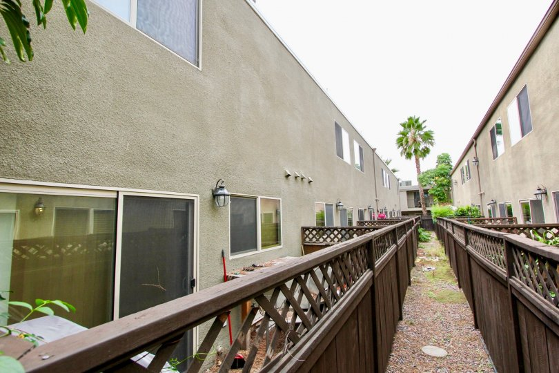 Back Patios at The Village Townhomes in El Cajon, California.