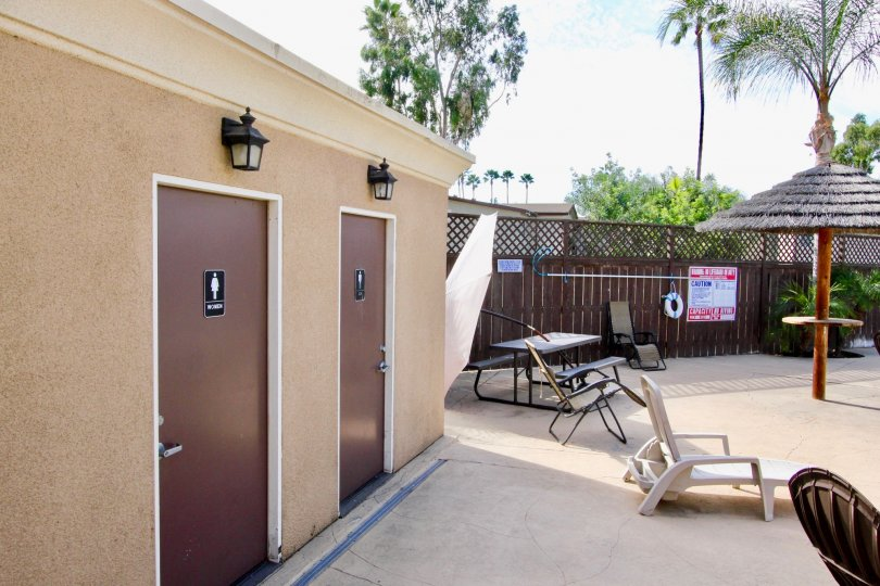 The poolside bathroom on a nice sunny day at The Willows Community in El Cajon, California