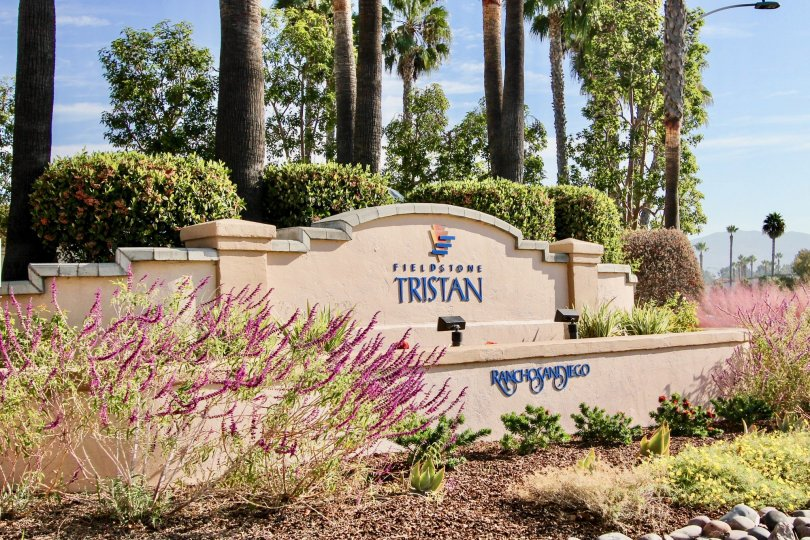 Stone sign for Fieldstone Tristan, Rancho San Diego