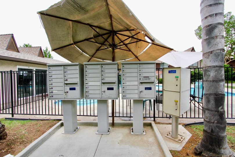 Community mail boxes at Villa Del Rhine in El Cajon California