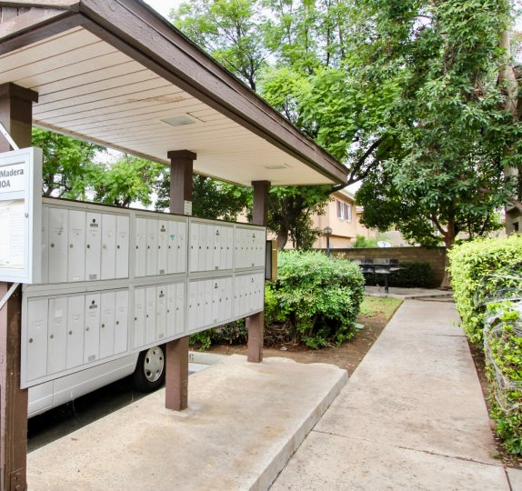 A sunny day in the Villa Madera area, mailboxes, trees