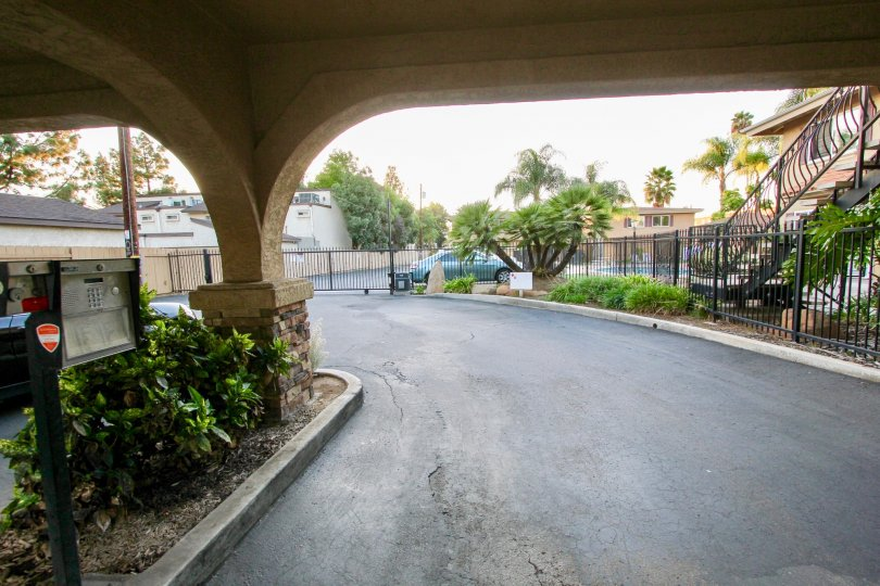 Driveway near residential buildings at Villa Toscano in El Cajon California