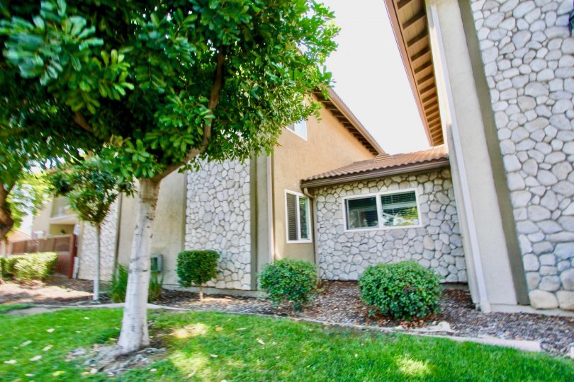 Stone housing and trees at Woodland Village in El Cajon California