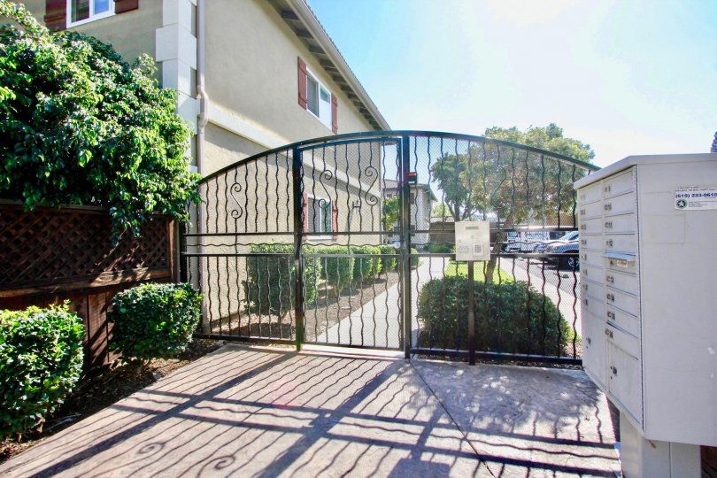 Front Gate on a clear day at Woodland Village in El Cajon, California.