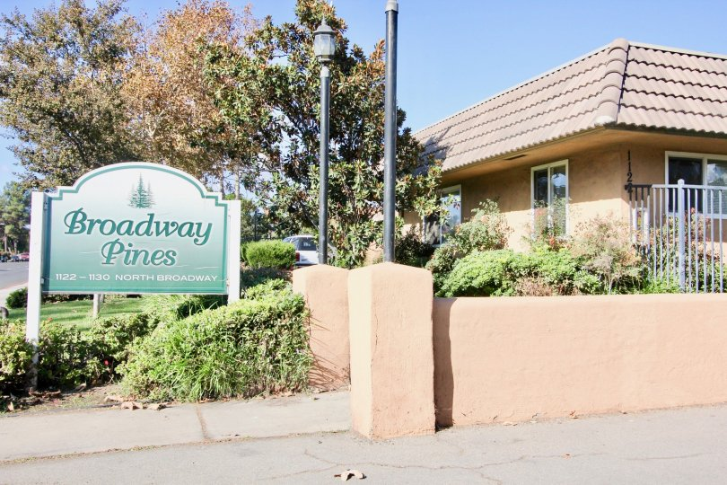 Entrance sign at the Broadway Pines community in Escondido Califonia