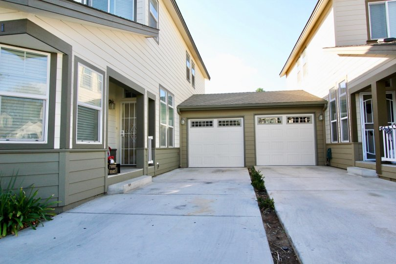 Driveways leading up to garage doors at Brotherton Square in Escondido California