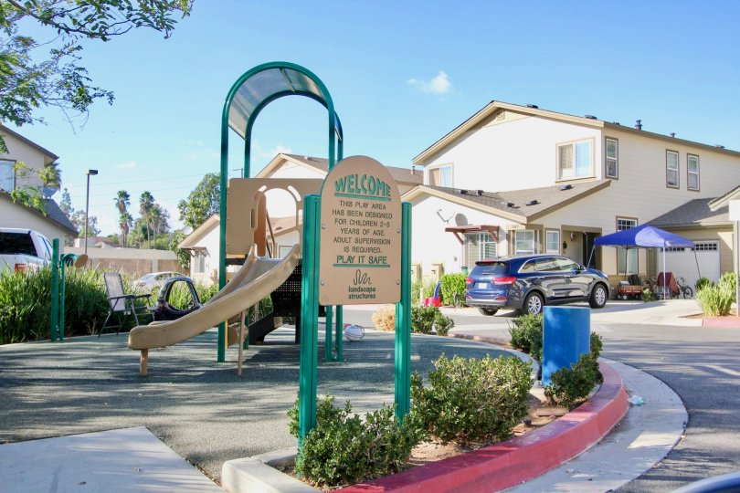 Small playground with a slide in a California community