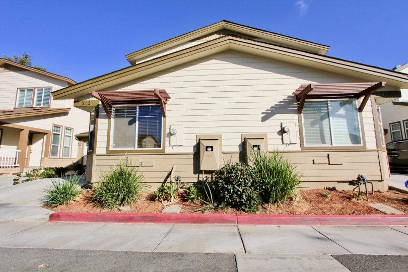 Brotherton Square community Escondido California windows vegas landscaping shrubbery covered entry windows