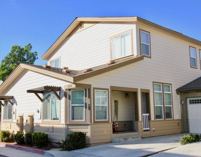 Brotherton Square, Escondido ,California,white building, bushes