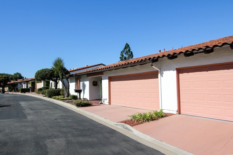 the Buena Ventura complex with pink garages located in Escondido CA