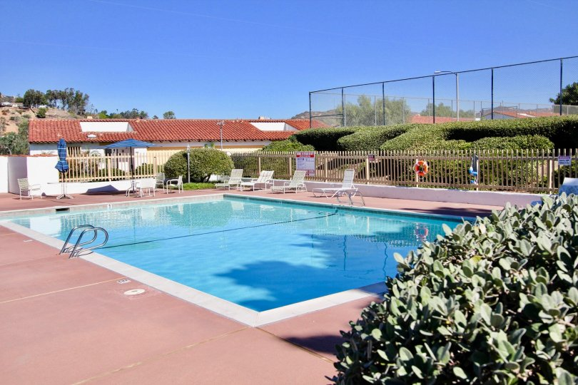 The community pool in the Buena Ventura community located in Escondido CA