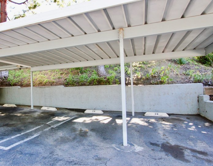 Covered parking near a hillside at Camden cove in Escondido California