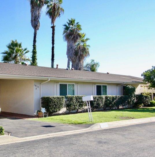 Housing units near yard and beneath palm trees at Fairway Park in Escondido California