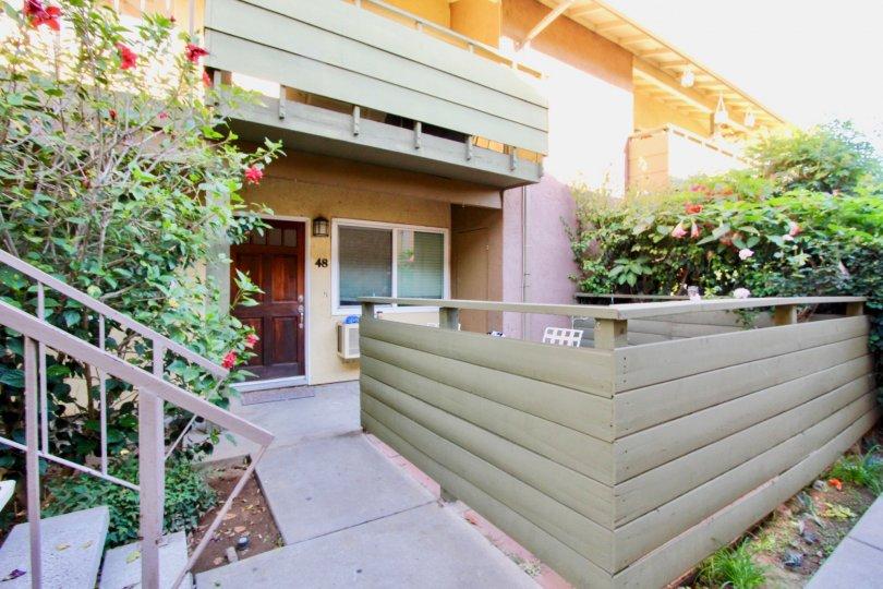 Entrance next to patio area at Grand Tree Park in Escondido California
