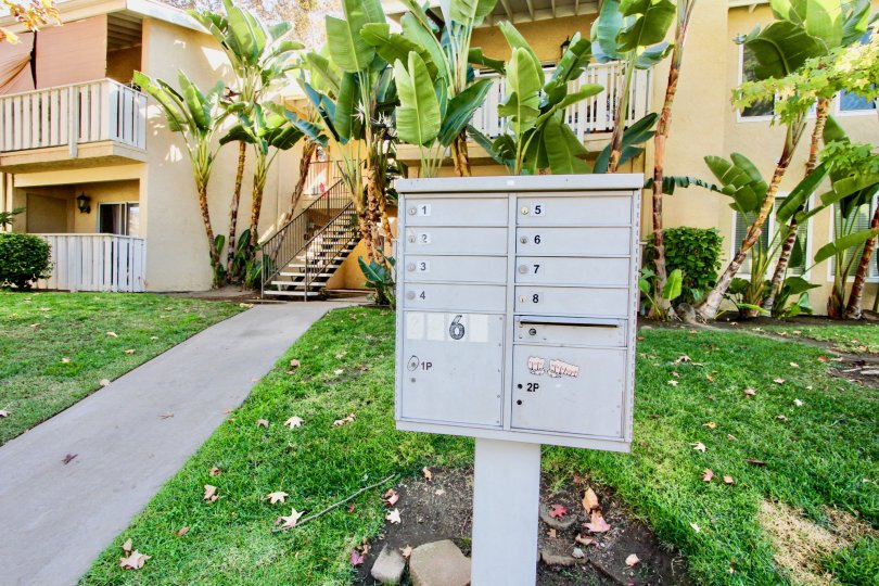 Mailboxes in front of residential units at Hampton Place in Escondido California