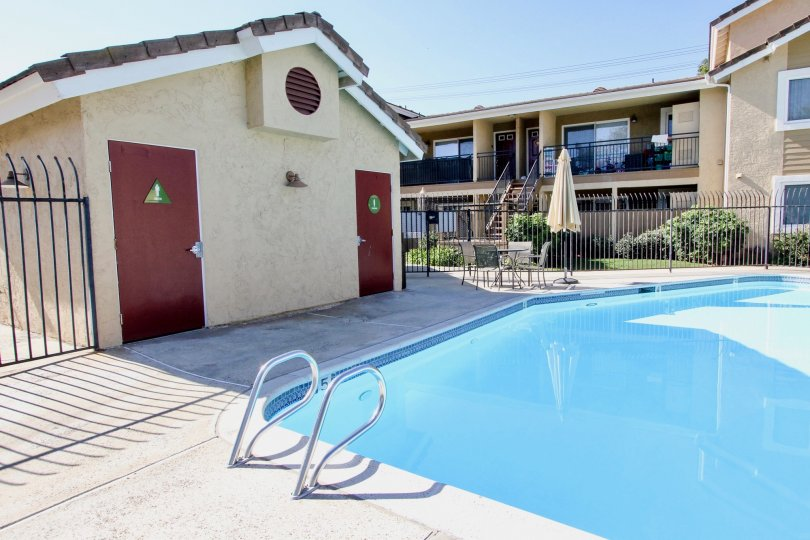 Swimming pool with restrooms at Heritage at Canyon Point in Escondido California