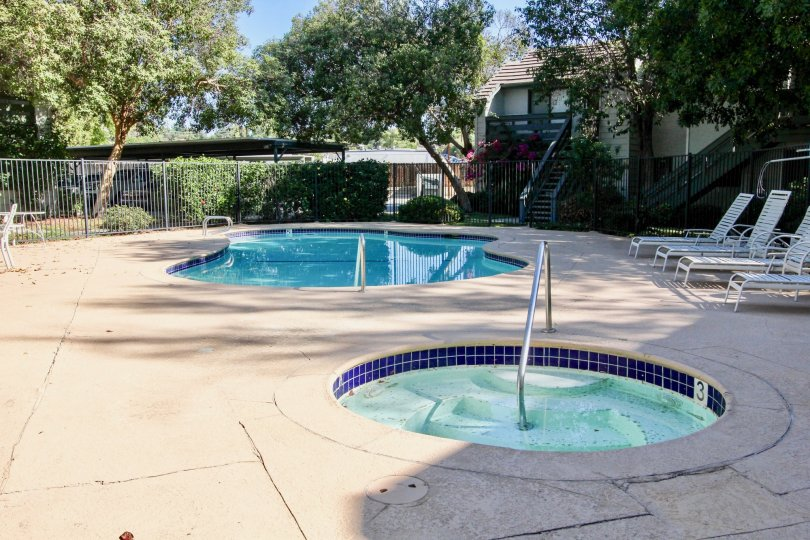 The hot tub and pool will help you relax and enjoy your days at Hidden Glen