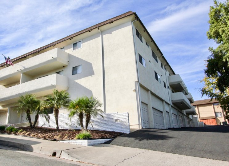 Three story condominium building with attached garages at Montecristo Villas South in Escondido California