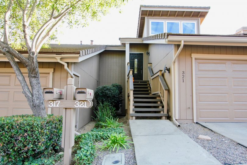 Residence with attached garage and stairway at Morningside Woods in Escondido California