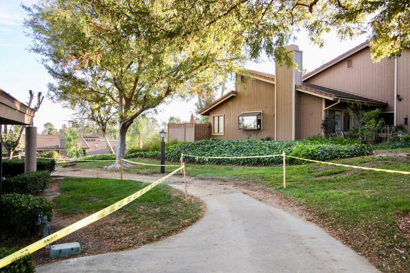 Town-homes near a walkway at Morningside Woods in Escondido California
