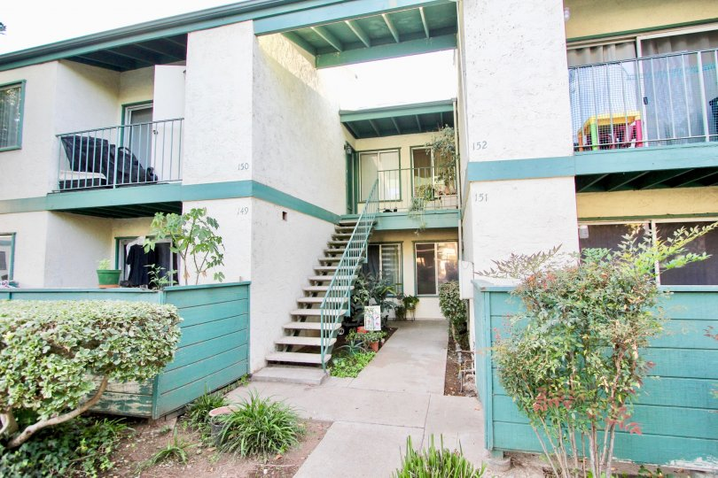 Residential units with stairways at Pepperwood Meadows in Escondido California