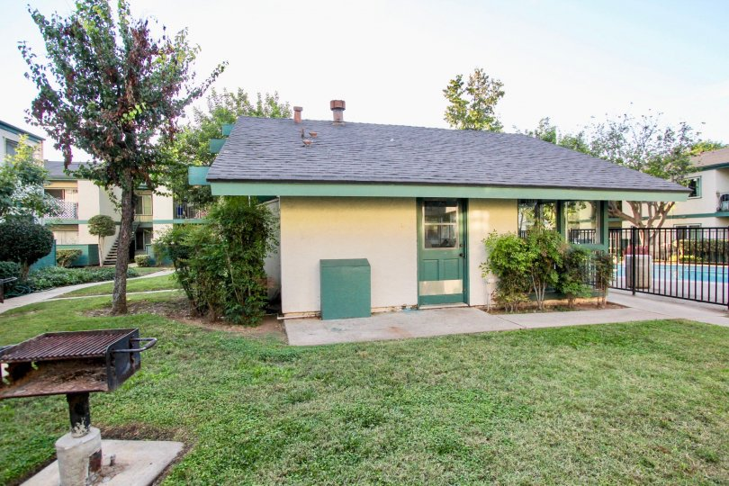 Small home in community with gated pool and barbeque out front, located in Pepperwood Meadows, Escondido, California.