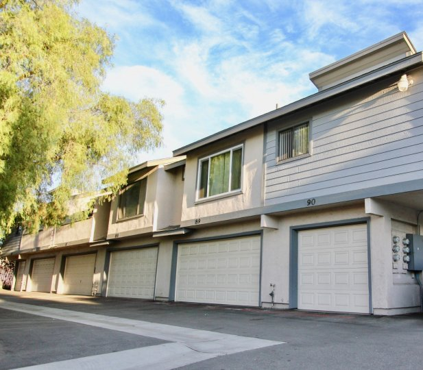 Two story residential building with attached garages at Quarry Glen in Escondido California