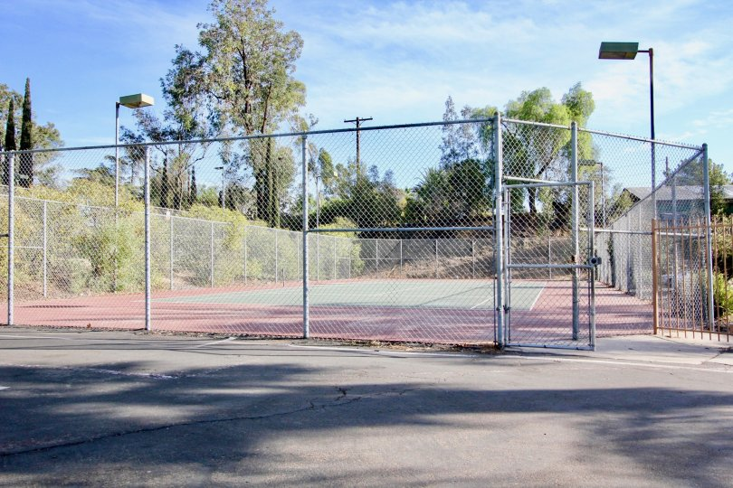 Tennis court surrounded by trees at Rock Springs East in Escondido California