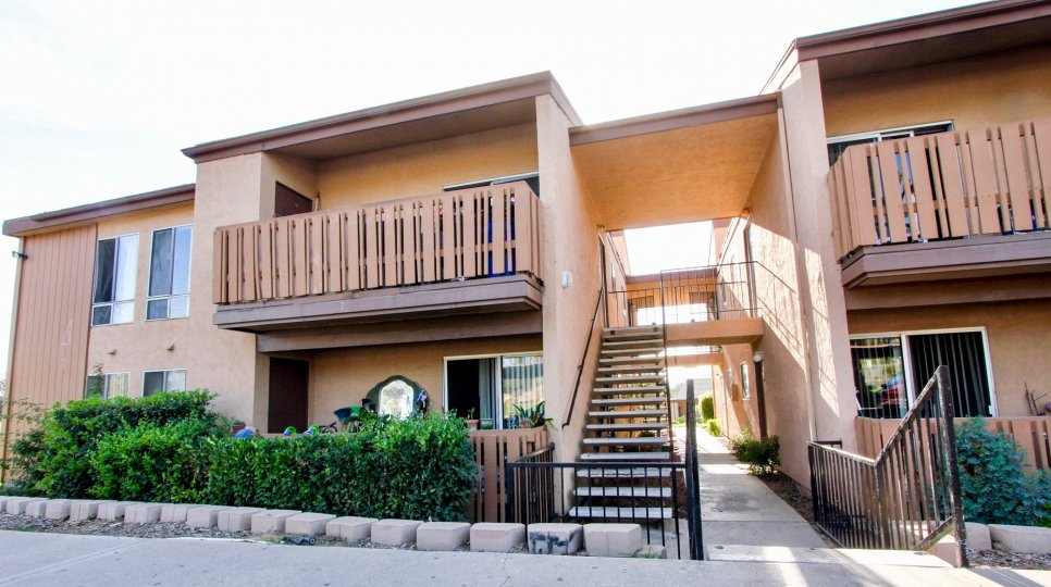 Units, stairs ond balcony of Rock Springs West in Escondido California