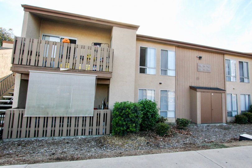 Two story condos with plants at Rock Springs West in Escondido California