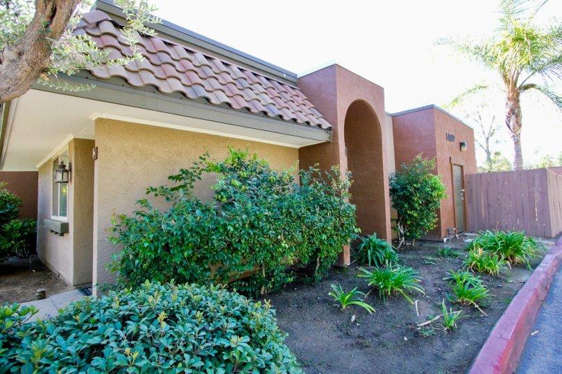 Small garden beside house in Sommerset Woods, Escondido, California.