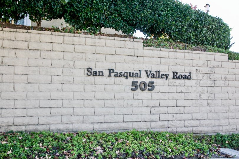The Heritage's address (San Pasqual Valley Road 505) in Escondido California.