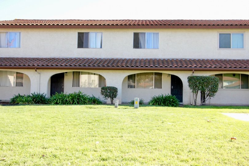 2 story Spanish mission style building in the Villa Espanas Community of Escondido, California