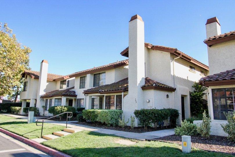 The sun shining on a house located in the Villa Espanas neighborhood of Escondido, CA.