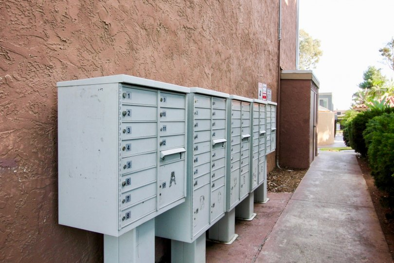 Mailboxes at villa la paz in escondido california, back alleyway