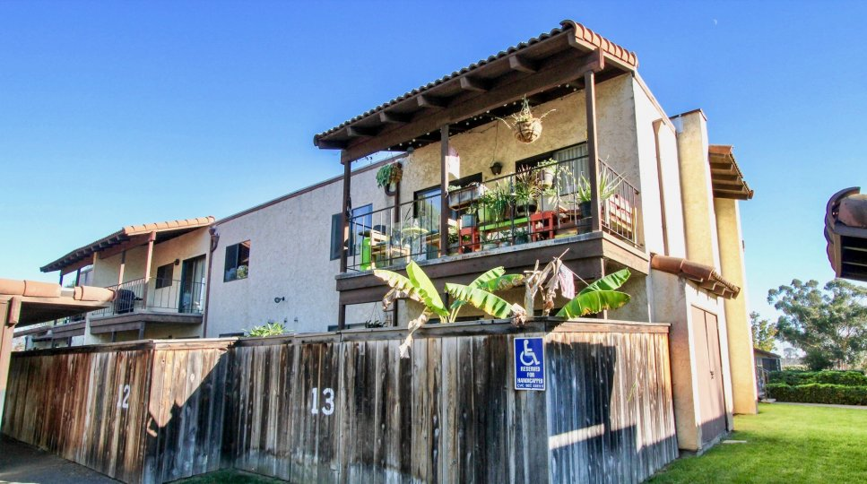Back view of balcony with plants of a home at Vista del Mundo in Escondido, Ca.