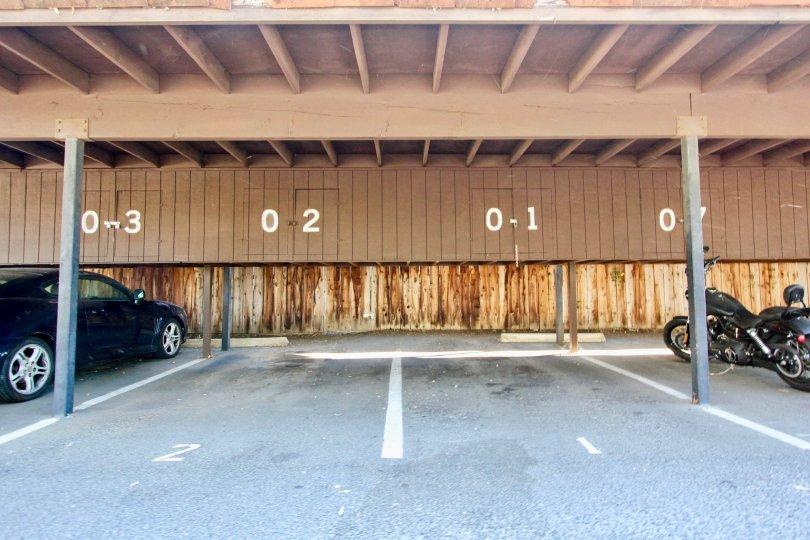 Parking area at Vista Del Mundo in Escondido California