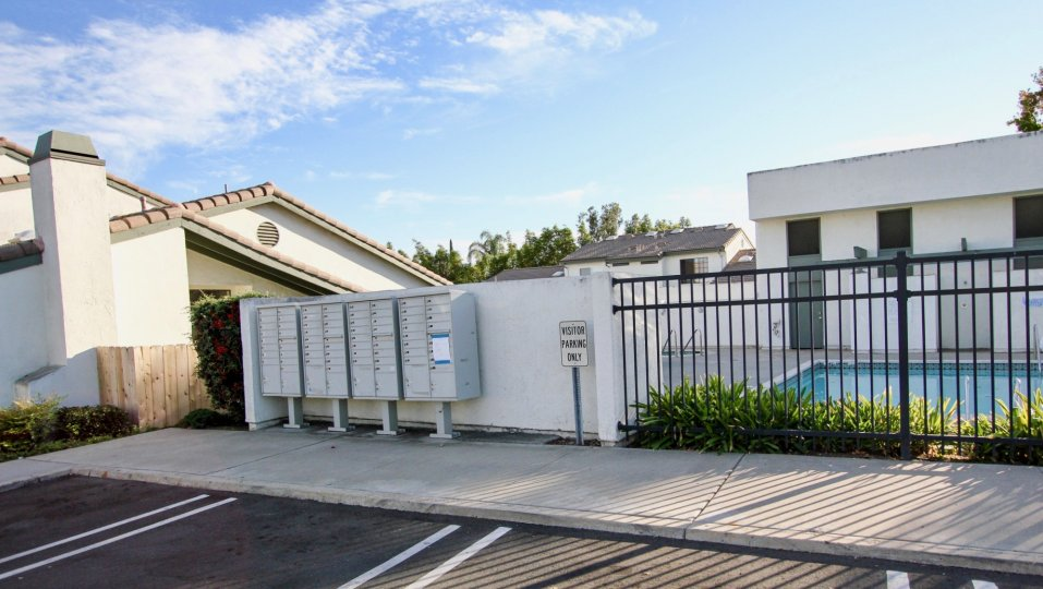 Swimming pool near residential buildings at Westwinds I in Escondido California