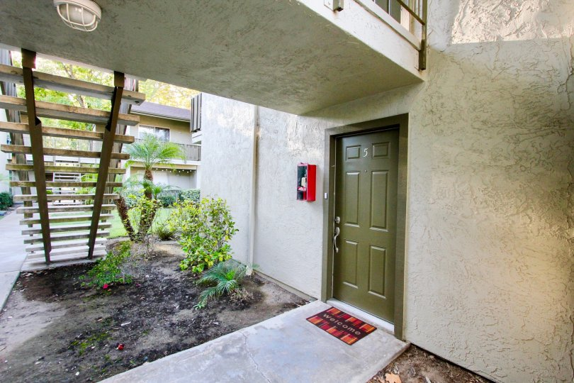 Closer view of an entrance into the apartments of White Oak Estates, Escondido, California