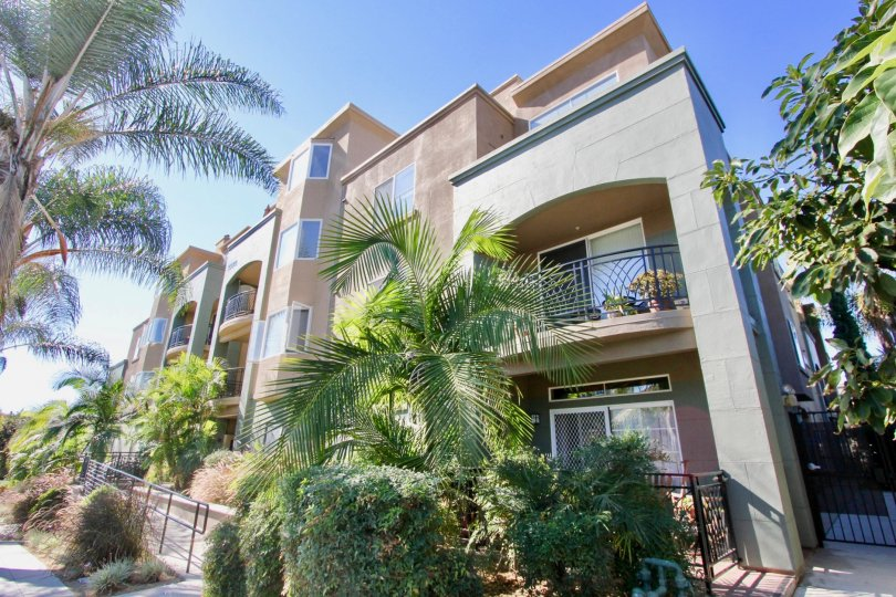 Villas with trees having sunshine and a balcony in Center Court of Condominiums of Hillcrest