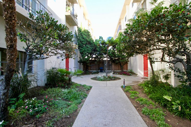 This is the park royal community in Hillcrest California.. looks like a court with pretty scenery